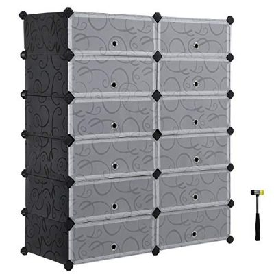 SONGMICS Shoe Rack, DIY Plastic Storage Organizer,Modular closet cabinet