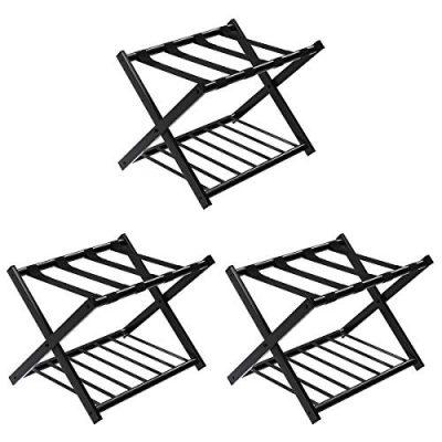 Tangkula Luggage Rack (Set of 3), Folding Metal Suitcase Luggage Stand