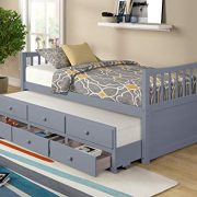 Twin Captain's Bed Storage daybed with Trundle and Drawers for Kids Guests