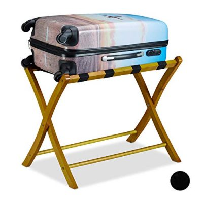 Relaxdays Wooden Luggage Rack, Foldable Suitcase Storage Stand