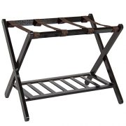 Best Choice Products 110lb Capacity Wood Folding Luggage Rack for Home