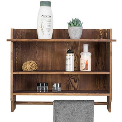 MyGift 3-Tier Wall Mounted Wood Bathroom Shelves