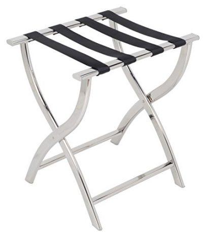AMENITIES DEPOT Folding Chrome Stainless Steel Luggage Rack