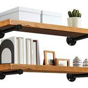 "Industrial Wood Shelf - 24"" Special Walnut Rustic Wooden Wall Shelves"