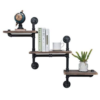 Industrial Pipe Shelving Wall Mounted,Steampunk Real Reclaimed Wood
