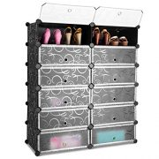Tangkula Shoe Rack 12-Cube DIY Plastic Shoe Cabinet Storage