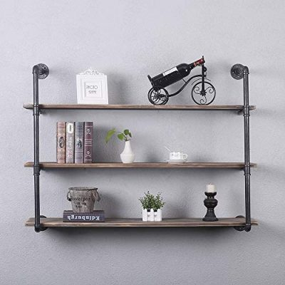 GWH Industrial Pipe Shelving Wall Mounted,48in Rustic Metal Floating Shelves