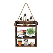 ANTJUMPER Hanging Ladder Shelf, Rustic Wood Wall Hanging Floating Shelves