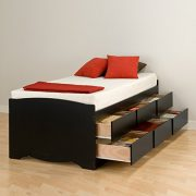 Prepac Tall Twin Sonoma Platform Storage Bed