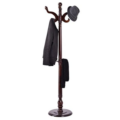 "LHONE 71"" Hat Coat Hanger Stand Rack Tree Wooden Hooks Holder Home Jacket"