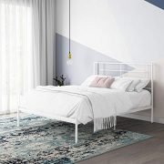 REALROOMS Praxis Metal Bed, Full Size Frame, Small Space, Under Bed Storage