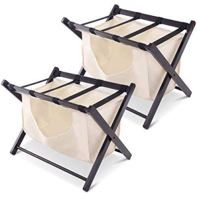 Tangkula Luggage Rack Folding Wood Suitcase Luggage Stand