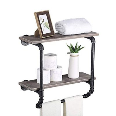 Ucared Industrial Pipe Shelves 2 Tiers Wall Mounted Shelves