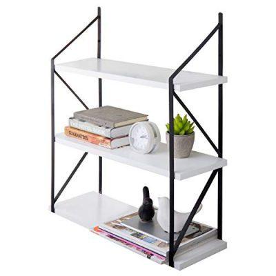 MyGift Modern 3-Tier White Wood Hanging Wall Shelf