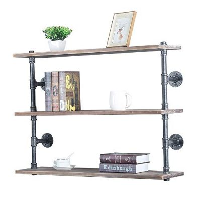 GWH Industrial Pipe Shelf Wall Mounted,Steampunk Real Wood Book Shelves