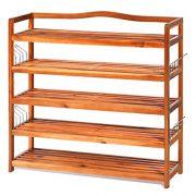 Giantex 5-Tier Wood Shoe Rack Entryway Shoe Shelf Storage Organizer