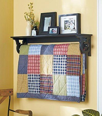Hanging Wall Shelf-Rack & Quilt Hanger Bedroom Decor