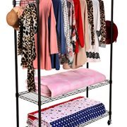 Homdox 3-Tiers Large Size Heavy Duty Wire Shelving Garment Rolling Rack