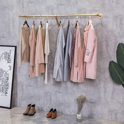 FURVOKIA Industrial Pipe Wall Mounted Clothes Hanging Shelves System
