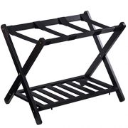 GOFLAME Folding Luggage Rack Wooden Suitcase Luggage Stand