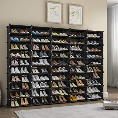 KOUSI 5 x 10-Tier Shoe Rack Shoe Tower Storage Cabinet Shoe Organizer
