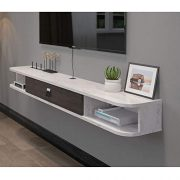 L&T Floating Tv Shelf with Door, Wood Media Console Wall Mounted Shelves