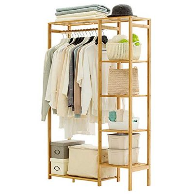 Ufine Bamboo Garment Rack 6 Tier Storage Shelves Clothes Hanging Rack