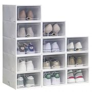 IRONLAND Storage Shoe Box White 12 Pack Clear Plastic