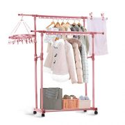 CONBOLA Heavy Duty Clothes Rolling Rack, Adjustable Double Rods