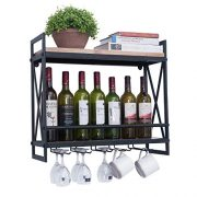 Rustic Wall Mounted Wine Racks with 5 Stem Glass Holder