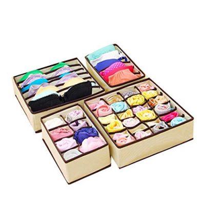 4PCS Underwear Organizer Storage Box Drawer Divider