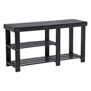SONGMICS Bamboo Shoe Bench, Shoe Rack for Boots, Entryway Storage Organizer