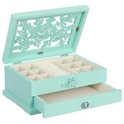 SONGMICS Girls Jewelry Box Wooden Flower Carving Jewelry Organizer