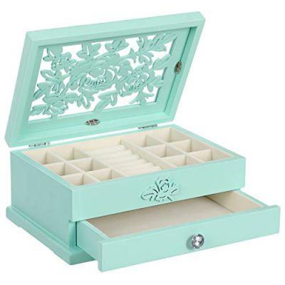 SONGMICS Girls Jewelry Box Wooden Flower Carving Jewelry Organizer