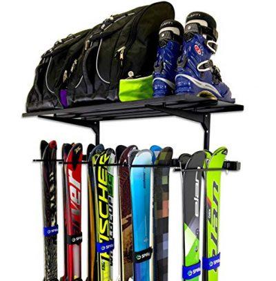 StoreYourBoard Ski Wall Rack and Storage Shelf, Holds 10 Pairs, Ski Wall Mount