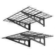 FLEXIMOUNTS 2' x 4' Black 2-Pack 2x4ft 24-inch-by-48-inch Wall Shelf Garage