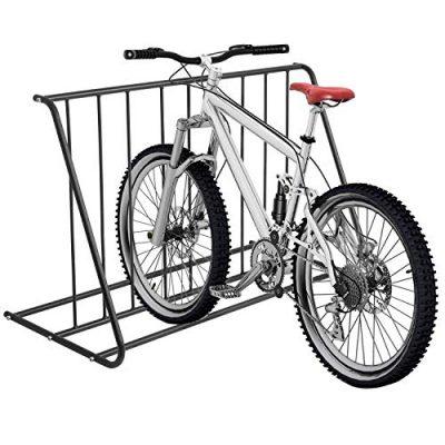MyGift 6-Bike Capacity Steel Pipe Grid Bicycle Parking Rack