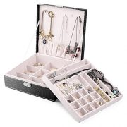 MESHA Jewelry Box for Women,2 Layer 29 Compartments Necklace