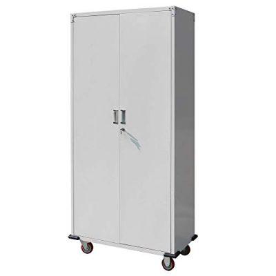 """Goujxcy Rolling Storage Cabinet 71"""" Tall, Lockable Garage Storage Cabinet Metal"""