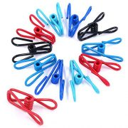 Swpeet 50 Pieces Multi-Purpose Metal Wire Clip Windproof Clothespin Metal Clips Holders for Office Clothes Baby Diaper Metal Peg Clips Pins Hanging Clips Hooks - Multi-Colors