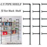 FOF Industrial Retro Wall Mount Iron Pipe Shelf,DIY Open Bookshelf