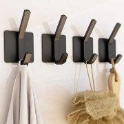XIGOO Black Adhesive Hooks - Office Hook Hanging Key Bathroom Towel Hooks