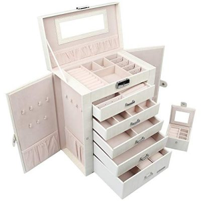 Homde 2 in 1 Huge Jewelry Box/Organizer/Case Faux Leather with Small Travel Case, Gift for Girls or Women (White Wood Grain)