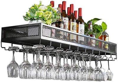 YAGEER JJIAGD Wine Bottle Bar Unit Floating Shelves Loft Wine Rack Wall Shelf Metal Iron Ceiling Rack Storage Wine Racks Hanging Wine Bottle and Glasses Stemware Holder Holder Frame Wine Goblets