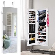 XCSOURCE Jewelry Organizer Jewelry Armoire Lockable Jewelry Chest Jewelry Cabinet Wall Door Mounted with Large Capacity Jewelry Armoire Length Mirror Lockable Large Jewelry Organizer(White)