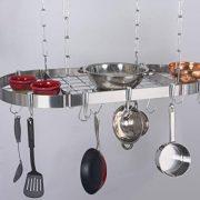 "Concept Housewares Hanging Pot Rack, 38"", Silver"