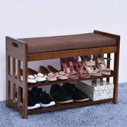 JHFUH Change Shoe Bench, Shoe Change Stool Natural Bamboo Shoe Rack