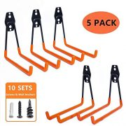 Garage Storage Utility Hooks - Premium Steel - Heavy Duty for Organizing Power Tools - Wall Hanger Hook Holder Storage Rack for Ladders Bikes Ropes Baby Carriage Bulk items(Pack of 5)