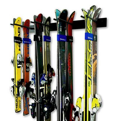 StoreYourBoard Ski Wall Storage Rack, Holds 8 Pairs, Steel Home and Garage Skis