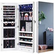 Nicetree 8 LED Mirror Jewelry Cabinet, Jewelry Armoire Organizer
